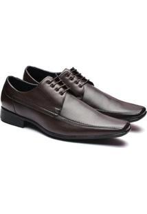 Sapato Social Couro Manutt Cadarço Masculino - Masculino-Marrom