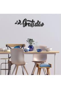 Escultura De Parede Em Mdf Gratidão Preto - Médio