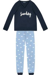 Pijama Feminino Em Malha De Algodão Com Estampa Que Brilha No Escuro