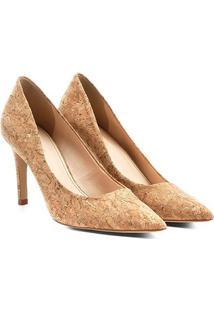 Scarpin Shoestock Salto Alto Cortiça - Feminino-Bege