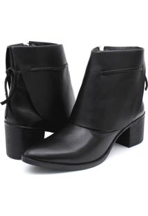 Bota Ankle Boot Couro Venetto Feminina Salto Quadrado Lapela Preto - Tricae