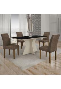 Conjunto De Mesa De Jantar Creta Com 4 Cadeiras Olímpia Linho Preto E Marrom