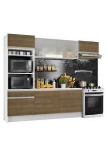 Cozinha Completa Madesa Topazio Com Armário, Tampo E Balcão Branco/Rustic Cor:Branco/Rustic