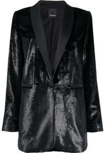 Pinko Blazer Com Textura - Preto