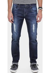 Calça Jeans Skinny Rockblue Super Escura Puídos Masculina - Masculino