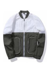 Jaqueta Bomber Masculina - Cinza Escuro E Branco