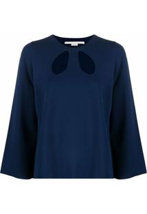 Stella Mccartney Blusa De Tricô Com Detalhe De Recorte Vazado - Azul