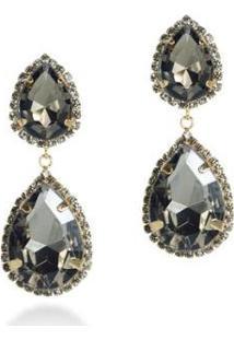 Brinco Pedra Pura Gota Diamante Negro Feminino - Feminino-Cinza