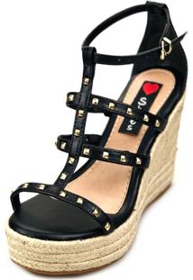 Anabela Alta Love Shoes Espadrille Corda Spikes Tiras Preto