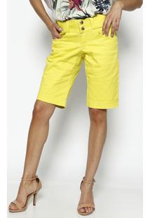 Bermuda Em Sarja Com Pespontos- Amarela- Dress Todayênfase