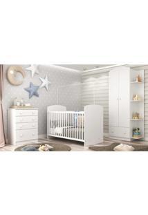 Quarto De Beb㪠Completo Com Berã§O Guarda-Roupa E Cã´Moda Multimã³Veis Confete Luiza - Branco/Incolor - Dafiti