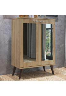 Estante Para Livros 2 Portas Com Espelho 3 Prateleiras Est130 Oak - Completa Móveis