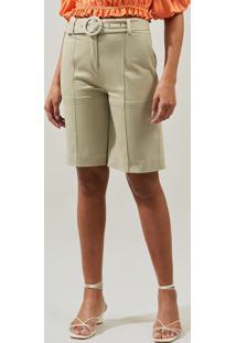 Bermuda Mx Fashion De Sarja Flaviane Verde Claro - Tricae