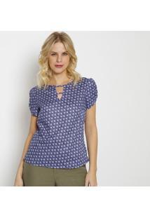 Blusa Floral Com Recorte & Tiras- Roxa & Azul- Vip Rvip Reserva