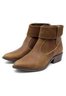 Bota Ankle Boot Couro Venetto Feminina Salto Quadrado Lapela Caramelo
