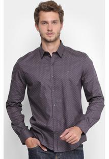 Camisa Ellus Slim Fit Mini Print Masculina - Masculino-Chumbo