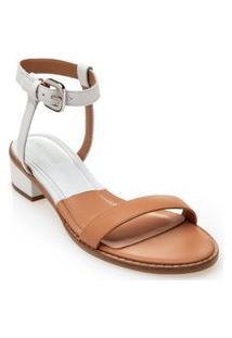 Sandalia Salto Medio Bicolor Branco