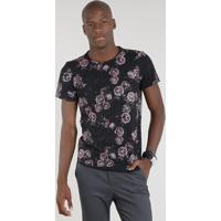 Camiseta Masculina Estampada Floral Manga Curta Gola Careca Preta 7f9b379fed