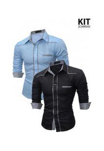 Kit 2 Camisas Masculinas Manga Longa 7670 - Azul Clara E Preta