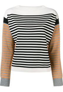Alberta Ferretti Suéter Listrado Color Block - Branco