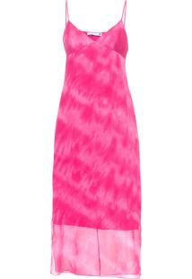 Vestido De Seda Tie Dye - Rosa