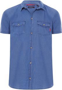 Camisa Masculina Jeans Enxuto Murere - Azul