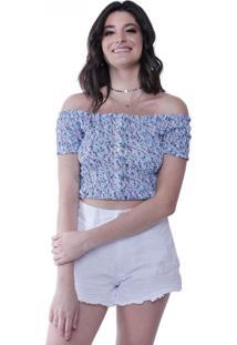 Blusa Lastex Botões Flores Pop Me Azul