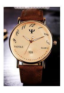 Relógio Feminino Yazole 328 - Marrom Com Dourado