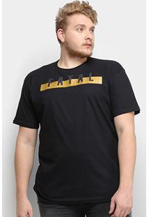 Camiseta Fatal Logo Plus Size Masculina - Masculino-Preto