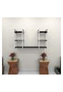 Estante Estilo Industrial Sala Aço Cor Branco 120X30X68Cm (C)X(L)X(A) Cor Mdf Preto Modelo Ind31Psl