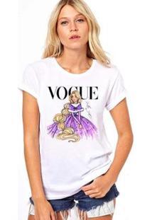Camiseta Coolest Rapunzel Vogue Feminina - Feminino-Branco
