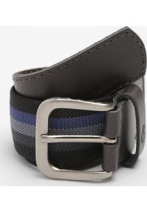 Cinto Listrado Elã¡Stico - Preto & Azul Escuro - 3X71Ogochi
