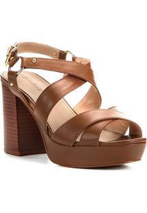 Sandália Couro Shoestock Meia Pata Amazon Feminina - Feminino-Marrom Claro