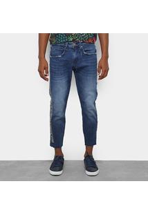 Calça Jeans Slim Colcci John Cropped Estonada Masculina - Masculino-Azul