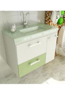 Gabinete Para Banheiro 80 Cm Com 2 Peças Vetro 13 Branco E Verde Tomdo