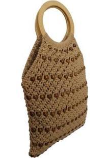 Bolsa Dali Shoes Crochê Feminina - Feminino-Bege