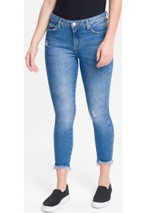 Calça Jeans Feminina Five Pockets Super Skinny Destroyed Cintura Média Azul Claro Calvin Klein - 44