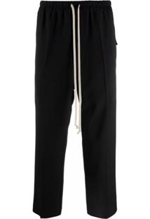 Rick Owens Drawstring-Fastening Cropped Tailored Trousers - Preto