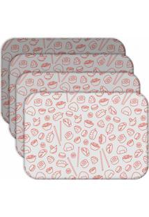 Jogo Americano - Love Decor Sketches Oriental Kit Com 4 Peças