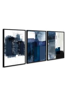 Quadro 75X150Cm Abstrato Textura Margolanak Moldura Preta Com Vidro