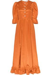 Batsheva Prairi Ruffled Midi Dress - Laranja