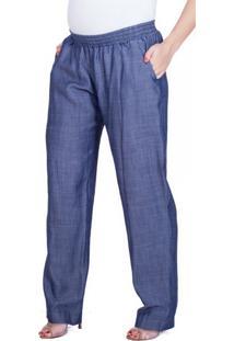 Calça Gestante Pijama Denim Azul Marinho