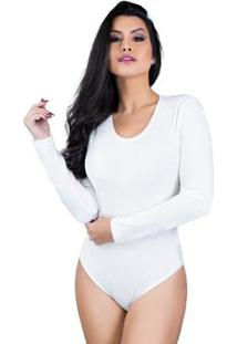 Body Mvb Modas Manga Longa Veludo Collant Feminino - Feminino-Branco