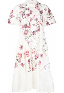 Renli Su Vestido Evasê Com Estampa Floral - Branco