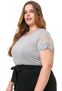 Blusa Cativa Plus Listrada Amarração Cinza/Branca