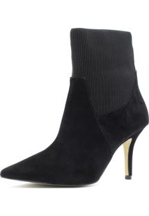 Bota Sock Boot Shoes Inbox Salto Fino Feminina - Feminino-Preto