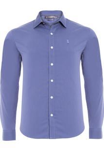 Camisa Masculina Stretch - Azul
