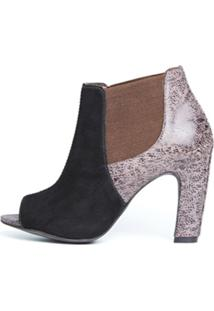 Ankle Boot D.Oz Salto Grosso Café