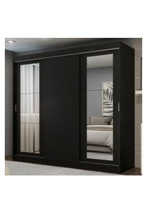 Guarda-Roupa Casal Madesa Kansas 3 Portas De Correr Com Espelhos 3 Gavetas Preto
