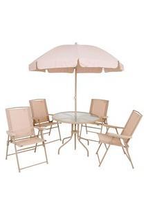 Conjunto Malibu Mesa Com Cadeiras E Guarda Sol Jar-Mal Mor